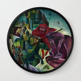 City with Animals by Max Ernst Wall Clock