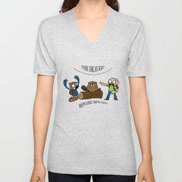 Beaver Safety Shirt! (by Steak n' Egg) Unisex V-Neck