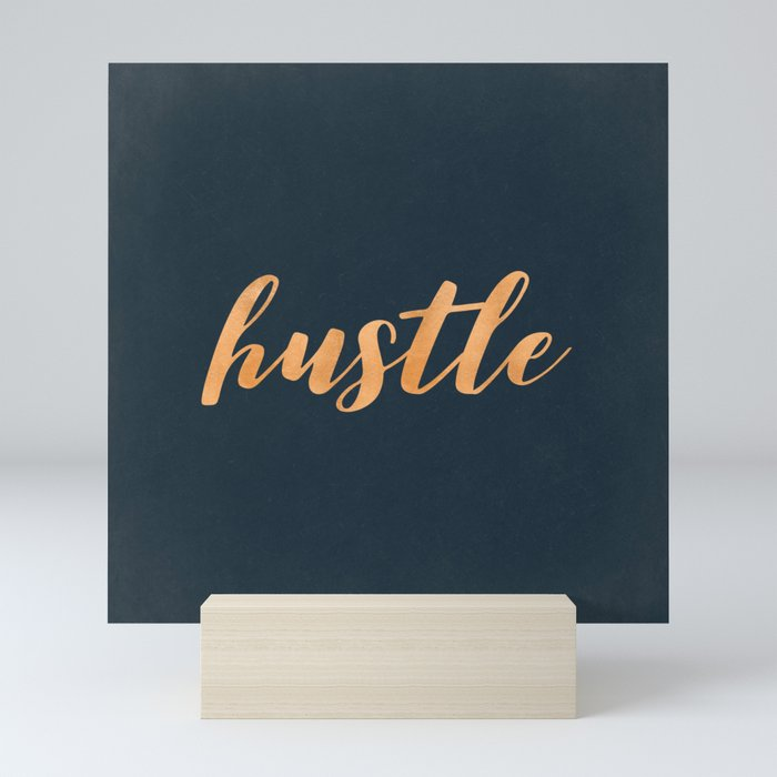 Hustle Text Copper Bronze Gold and Navy Mini Art Print