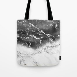 Modern black and white marble ombre watercolor color block Tote Bag