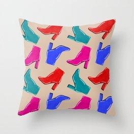 Shiny High Heel Boots Throw Pillow