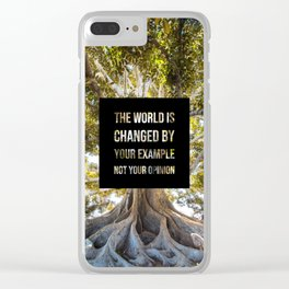 The world is changed by your example - Earth Collection Clear iPhone Case