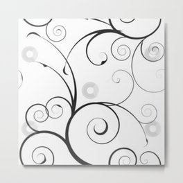 Black and Gray Swirls and Circles Metal Print