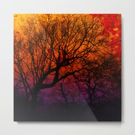 Ever After, Trees Silhouette Sunset Metal Print