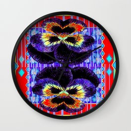 Red Western Style Double Purple & Gold Pansy Wall Clock