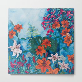 Blue Jungle of Orange Lily and Pink Trumpet Vine Floral Metal Print