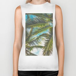 Vintage Tropical Palm Trees Biker Tank