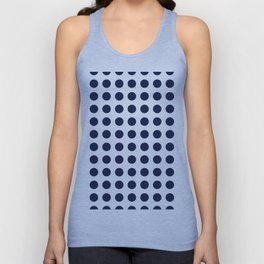 Simply Polka Dots in Nautical Navy Blue Unisex Tank Top