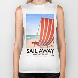Sail Away Deckchair travel poster Biker Tank