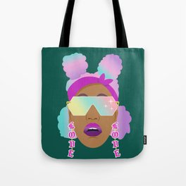 Top Puffs Girl #naturalhair #rainbowhair #shades #lipstick #blackunicorn #curlygirl Tote Bag