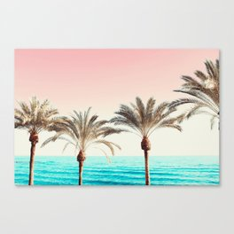 Modern California Vibes pink sky blue seascape tropical palm tree beach photography Canvas Print