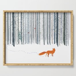 Fox in the white snow winter forest illustration Serving Tray