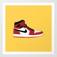 air jordan Art Prints featuring Air Jordan 1 by Dennis Cortes