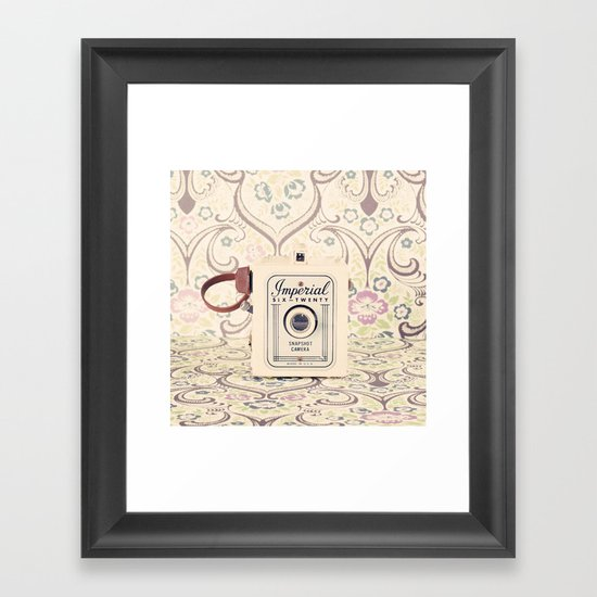Retro Beige Camera on a Violet Paisley Background  Framed Art Print