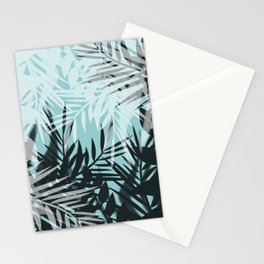 Tropical blue summer print palm leaves Stationery Cards