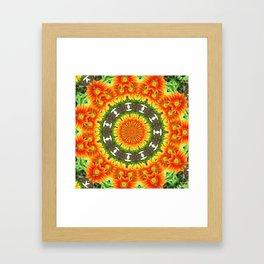Kaleidoscopic Orange Garden Gazanias Framed Art Print