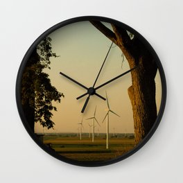 Sunset Turbines in Nature Wall Clock
