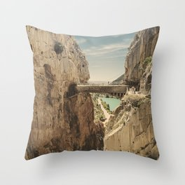 """""""The most dangerous trail in the world"""". El Caminito del Rey Throw Pillow"""