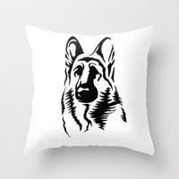 german Throw Pillows featuring German Shepherd by JonathanStephenHarris