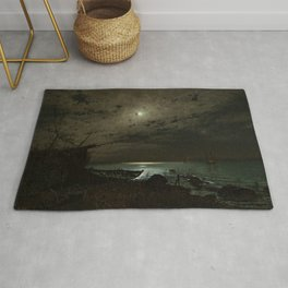 The Far Place Under Moonlight landscape painting by Magnus Munsterhjelm Rug