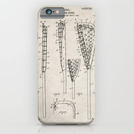 Lacrosse Stick Patent - Lacrosse Player Art - Antique iPhone Case