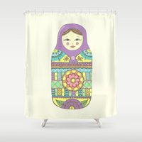 russian Shower Curtains featuring Russian Doll by haleyivers