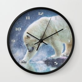 A polar bear at the water Wall Clock