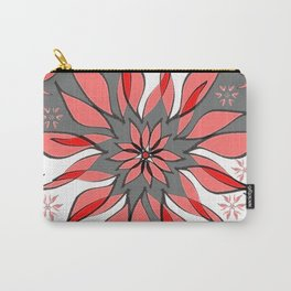 Wild Flower In Shades of Peach, Red, Grey and White Carry-All Pouch