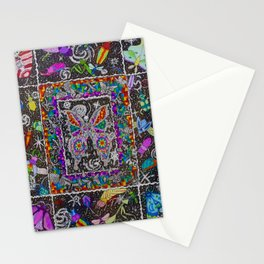 Decay of Insecta Rainbow Galaxy Skeleton Dotwork Space Illustration Stationery Cards
