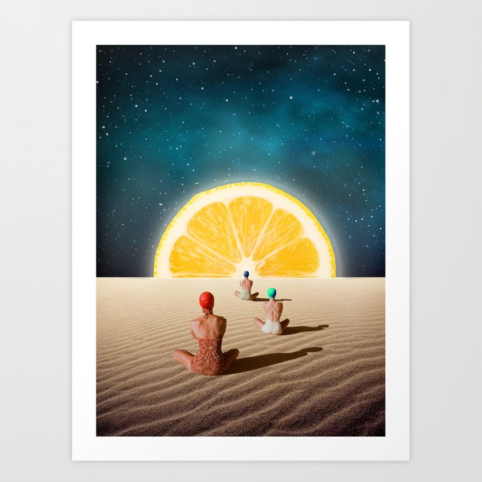 Desert Moonlight Meditation Art Print