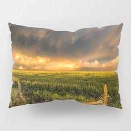 Breadbasket - Golden Light Illuminates Fence and Field in Kansas Pillow Sham