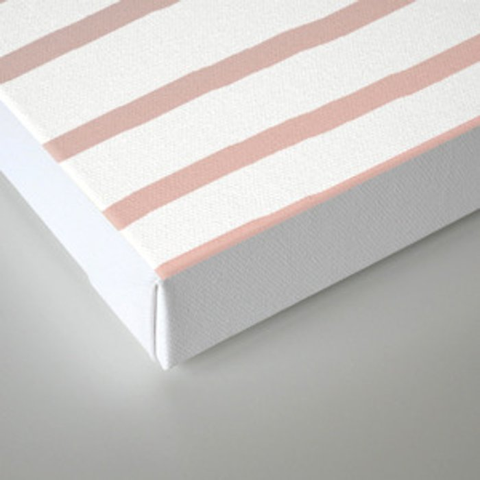 Simply Drawn Stripes in Coral Peach Sea Green Gradient Canvas Print
