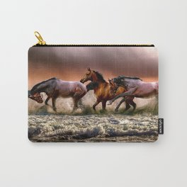 Horses running on the sea Carry-All Pouch