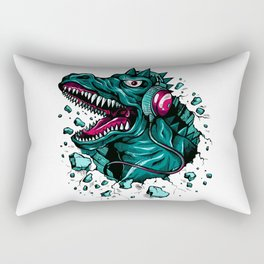 Dino with Headphones Green Cyprus Rectangular Pillow