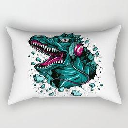 Dino with Headphones Green Cyprus Rectangular Pillow
