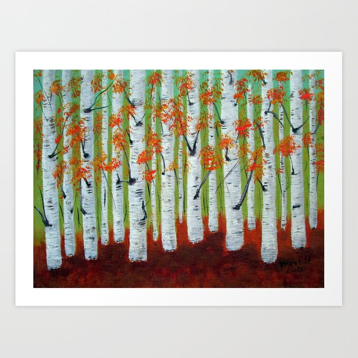 Atumn Birch trees - 5 Art Print