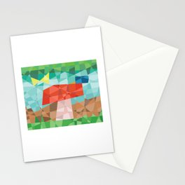 Mosaic mushroom with butterfly and snail Stationery Cards