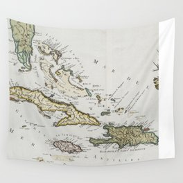 Vintage Map of The Caribbean (1779) Wall Tapestry