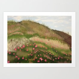Grassy Hills with Flowers Art Print