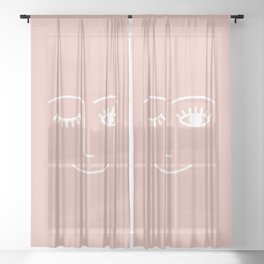 Wink (Pink) Sheer Curtain