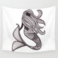mermaid Wall Tapestries featuring Mermaid by Laura Maxwell