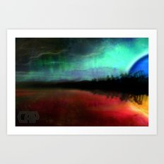 SkyScape #5 Vibrant Sun and Chill Moon Reflections by CAP Artwork Art Print