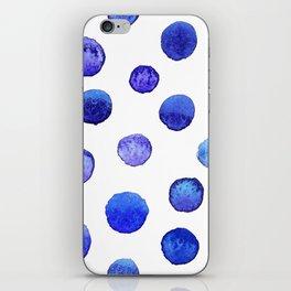 Blue polka dot watercolor pattern iPhone Skin
