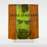 taxi driver Shower Curtains featuring Taxi Driver by Ganech joe