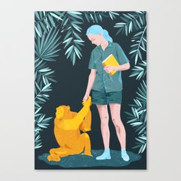 Jane and Fifi - Jane Goodall tribute illustration Canvas Print