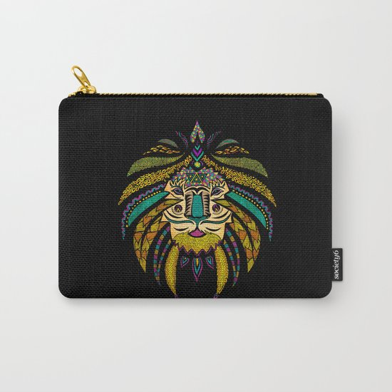 Tribal Lion on Black Carry-All Pouch