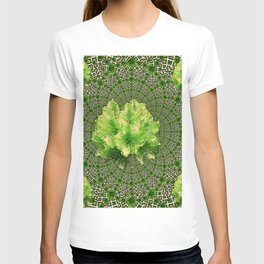 Lime Flowers & Green Irish Roses Optical Art T-shirt