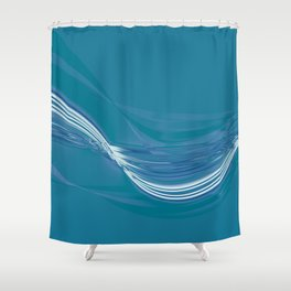 Blue Wave Abstract Shower Curtain