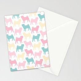 Pastel Pugs Pattern Stationery Cards