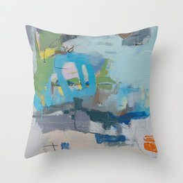 """""""riding the rail"""" abstract art in navy, lime, robin's egg and teal Throw Pillow"""